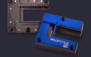 Custom three sided PCB module test socket and screw down open top lid