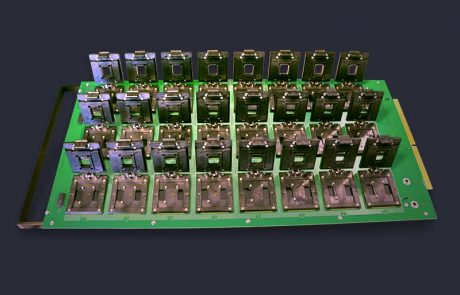 Custom clamshell burn-in test sockets for PCB module devices