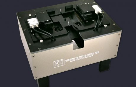 Benchtop PCB test fixture box with pneumatic lateral contacts